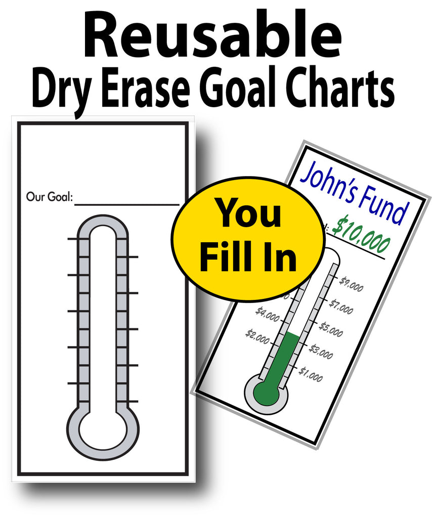 """Goal Thermometers, 12"""" X 24"""", Dry Erase Fundraising Chart"""