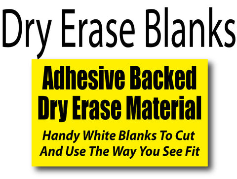Dry Erase Blanks - adhesive backed