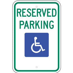 Reserved Parking, with Handicap Symbol Sign (Space for Arrow)