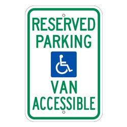 Reserved Parking Van Accessible, with Handicap Symbol Sign