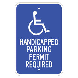 Handicapped Parking Permit Required, with Symbol Sign
