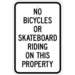 No Bicycles Or Skateboard Riding Sign