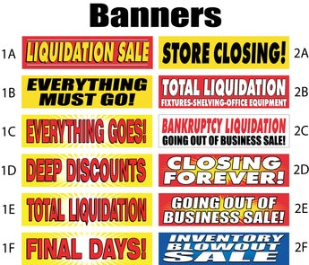 Sale Banners - inventory reduction, everything must go