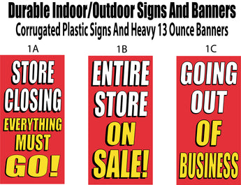 Going out of business, store closing banners