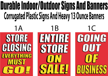Signs for store closing everything must go