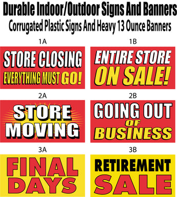 closing signs liquidation sales same day sign