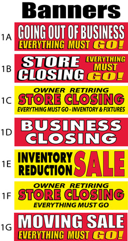 closing liquidation moving sale banners as low as 69 same day sign