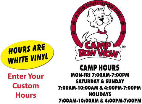 Camp Bow Wow-Door Decal and Hours