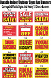 Assorted closing banners and sale signs