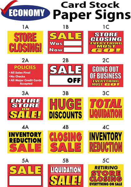 Paper Signs - Card Stock