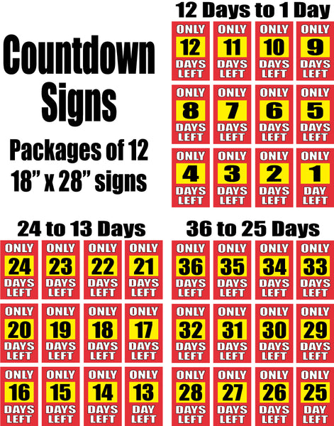 Days Left Signs - Single-Sided,Economy Paper Card Stock