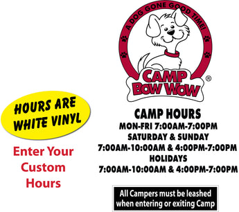 Camp Bow Wow logo, leash decal and hours