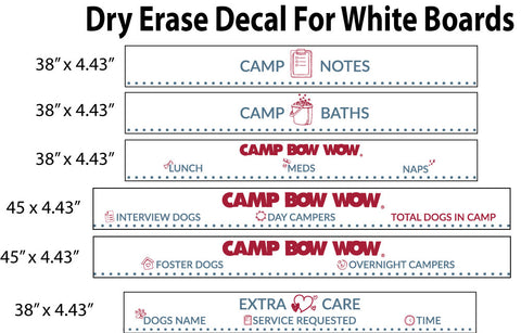 Camp Bow Wow Dry Erase Decals for White Boards