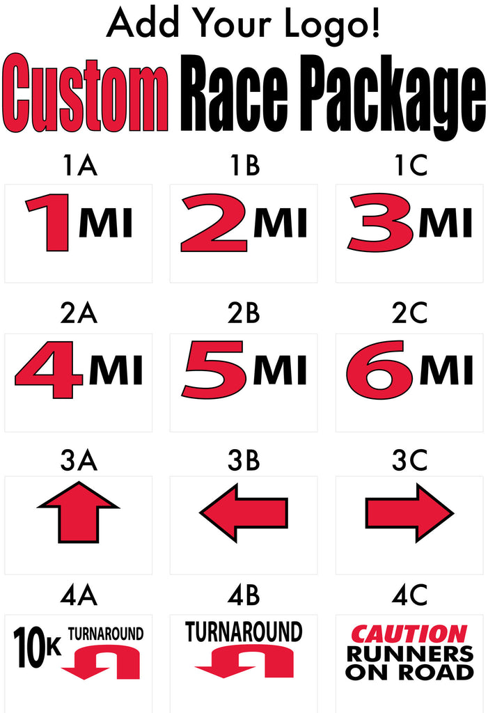 Race Signs, Mile Markers WITH LOGO Custom Pkg D – Same Day ...
