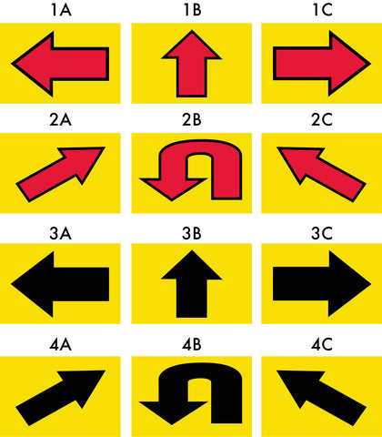 Yellow Background Arrow Signs