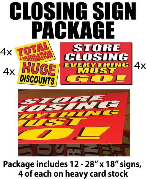 Closing sign package of 12 signs