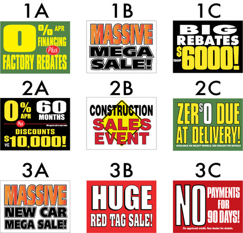 Rebate signs, no payments, construction sale