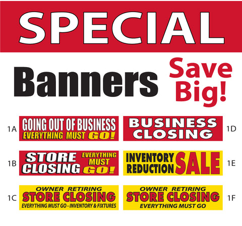 Special Closing Liquidation Sale Banners