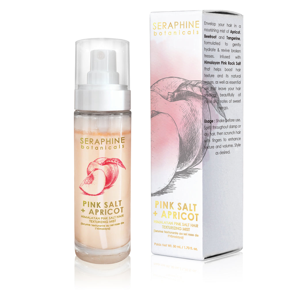 Pink Salt + Apricot - Himalayan Pink Salt Hair Texturizing Mist - Nourish Beauty Box