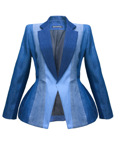 DENIM COLOR BLOCK BLAZER
