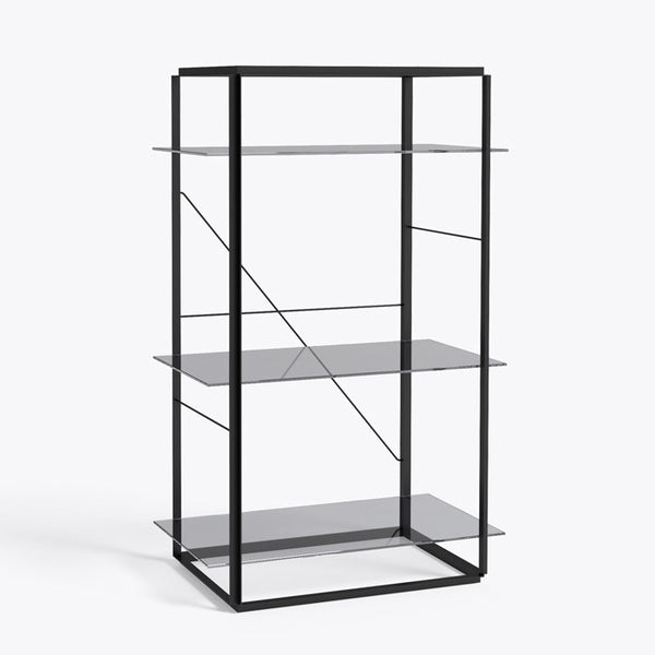 New works - Reol - Florence shelf (medium) - Sort stel røget glas