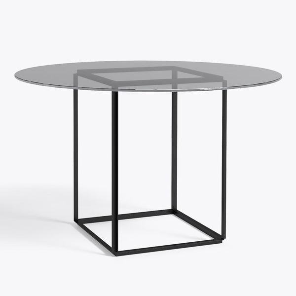 New works - rundt spisebord røget glas Florence dining table, sort