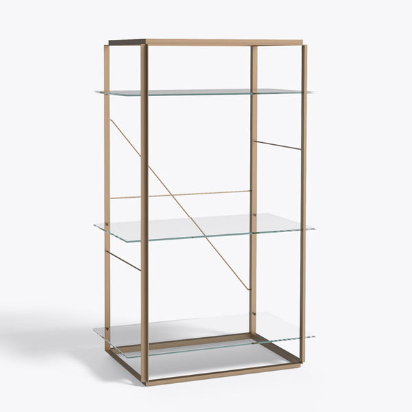 New works - Reol - Florence shelf gold (medium) klart glas guld stel