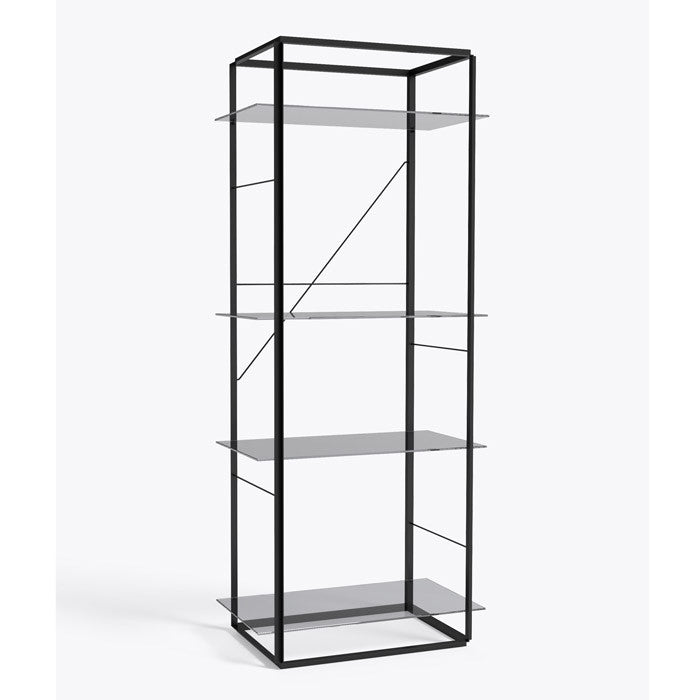 New works sort Reol florence shelf (large) røget glas
