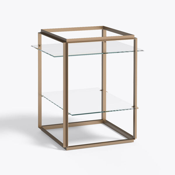 New works - Side table - Florence shelf gold klart glas guld ramme