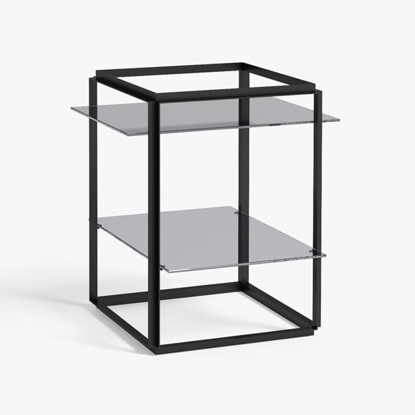 New works - Side table - Florence shelf, sort stel røget glas
