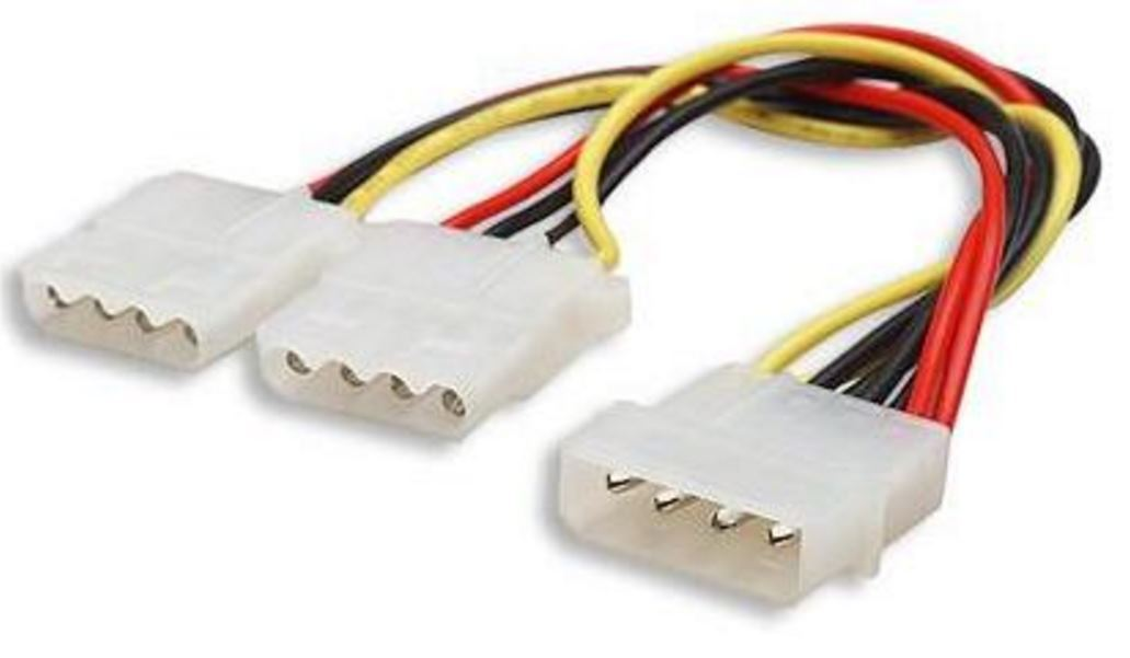 "Astrotek Internal Power Molex Cable 20cm - 5.25"" 4 pins Male to 2x 5.25"" 4 pins Female 18AWG RoHS"