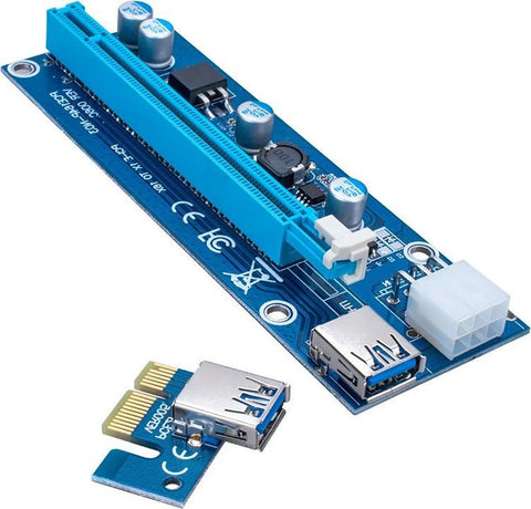 PCI Express PCI-E 1X to 16X Riser Card Adapter 60cm Powered USB 3.0 [VER 6c (6PIN POWERED)]
