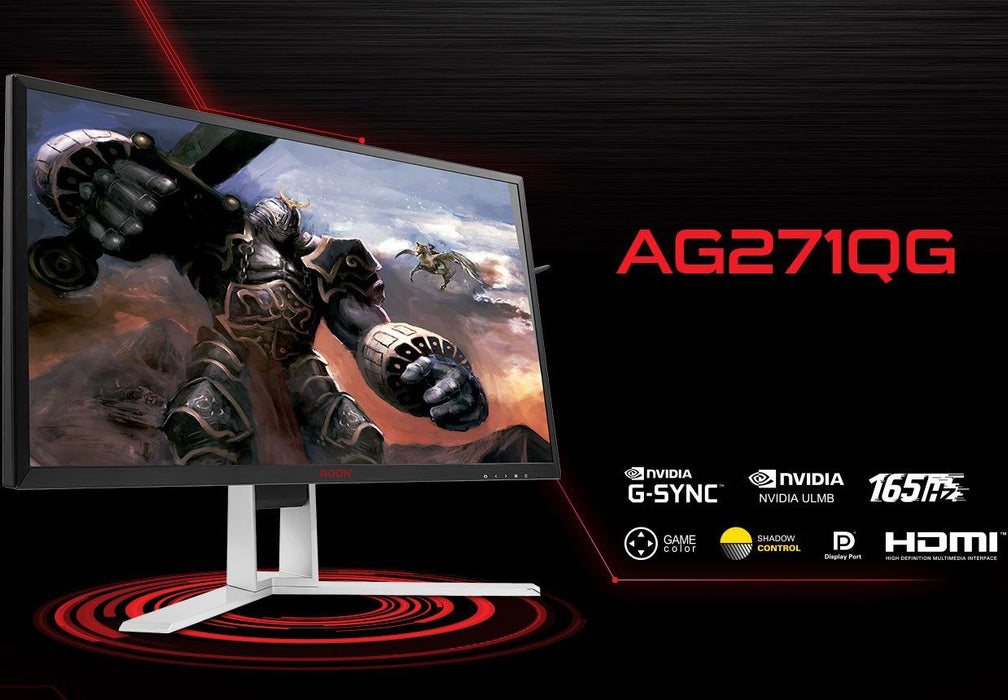 "AOC AGON 27"" VA 4ms 165Hz 2560x1440 G-Sync Gaming Monitor w/HAS - HDMI/DP,Hub/Charge,Speaker,Height Adjust"