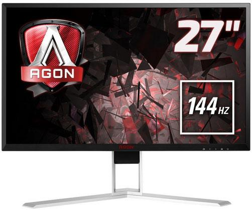 "AOC AGON 27"" 1ms 144Hz 2560x1440 FreeSync Gaming Monitor w/HAS - HDMI2.0/DP/DVI/VGA,Hub/Charge,Speaker,Height Adjust"
