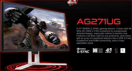 "AOC AGON 27"" VA 4ms 4K 3840x2160 G-Sync Gaming Monitor w/HAS - DP/HDMI Speaker VESA100mm Height Adjust USB3.0 Hub/Charger"