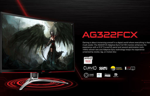 "AOC AGON 31.5"" VA 4ms 144Hz Full HD FreeSync Curved Gaming Monitor - HDMI/DP/DVI/VGA,Tilt"