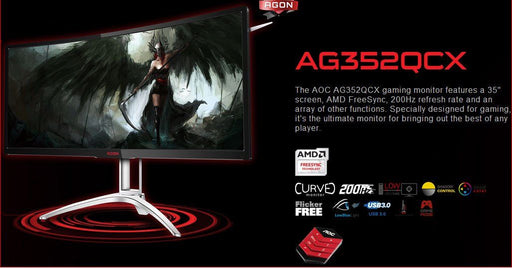 "AOC AGON 35"" VA 4ms 200Hz 2560x1080 FreeSync Curved Gaming Monitor w/HAS - HDMI2.0/DP/DVI/VGA Speaker VESA100mm Height Adjust USB3.0 Charger"