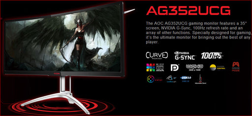 "AOC AGON 35"" VA 4ms 100Hz 3440x1440 G-Sync Curved Gaming Monitor w/HAS - HDMI/DP Speaker Height Adjust VESA100mm Black & Red"