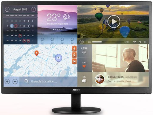 "AOC 19.5"" 5ms 1600x900 Narrow Bezel Monitor - VGA,Tilt,VESA100mm"