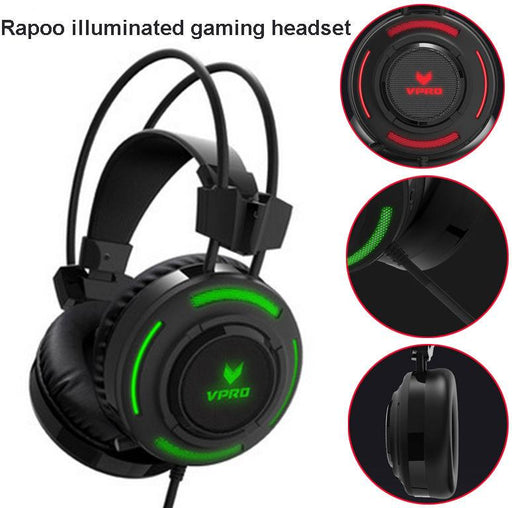 RAPOO VH200 Illuminated RGB Glow Gaming Headsets - 16m Colour Breathing Light Hidden Noise-Cancelling Microphones