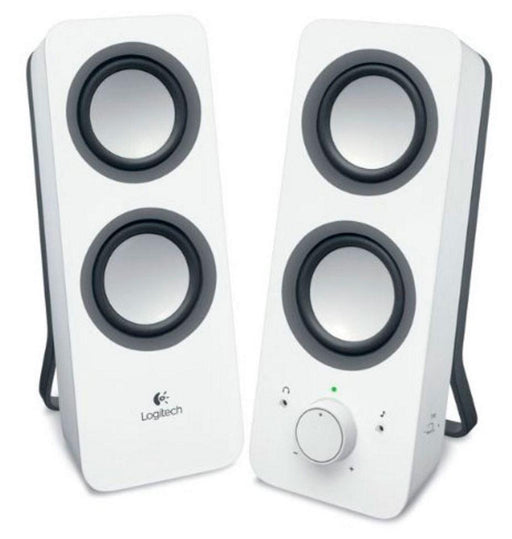 Logitech Z200 Multimedia Speakers Snow White 10W RMS 3.5mm Jack Volume Bass Power Control Node 2yrs Wty