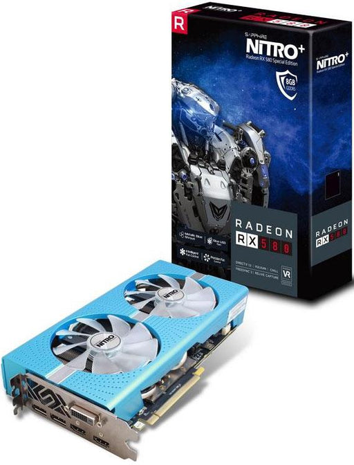 Sapphire AMD NITRO+ RX 580 8GB Super OC Extreme Gaming Video Card Special Edition - GDDR5 2xDP/2xHDMI/DVI VR Ready 1430MHz Core 2100MHz Memory