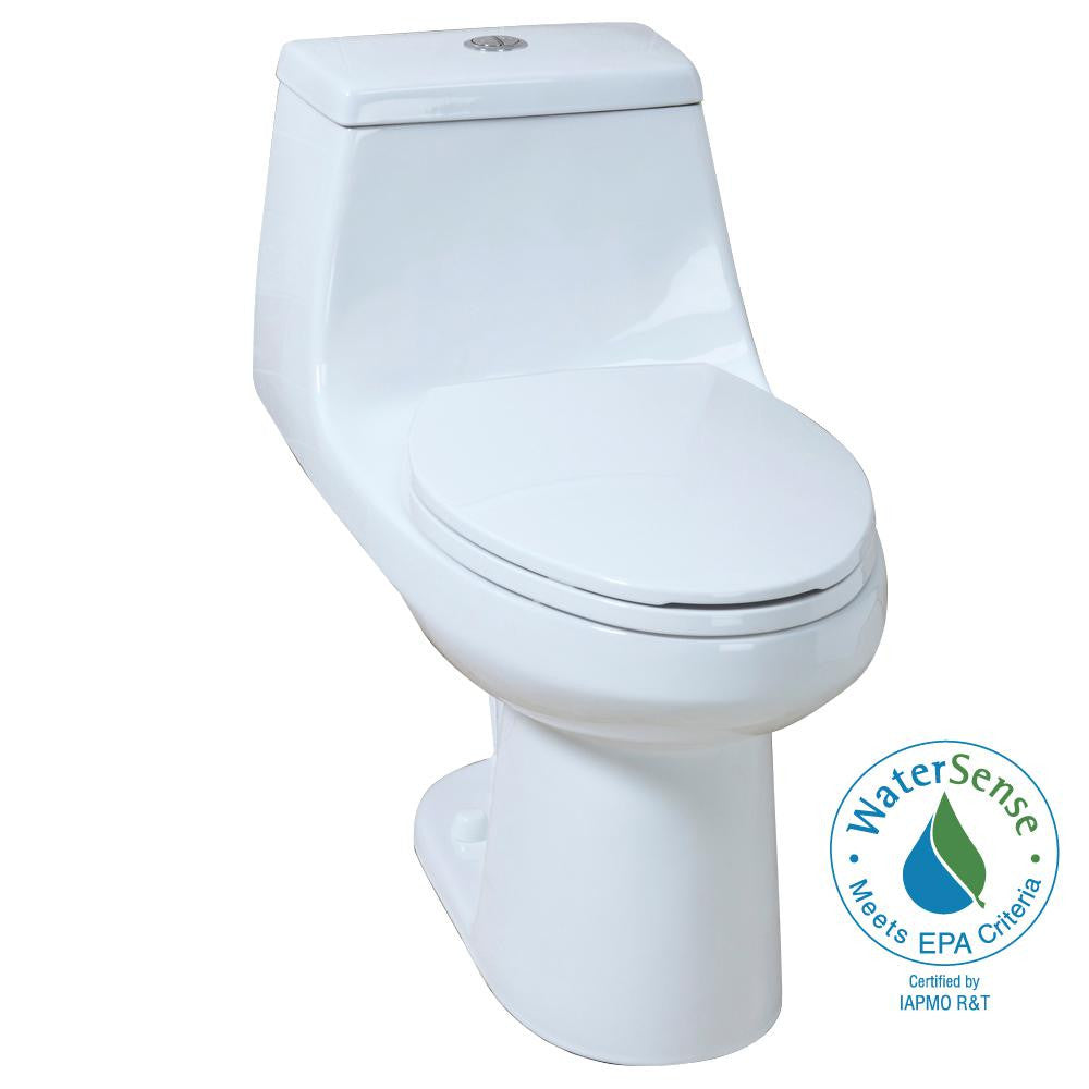 Glacier Bay 1-piece 1.1 GPF/1.6 GPF High Efficiency Dual Flush ...