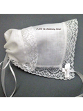 Fine Irish Linen Cathedral Lace Hankie Bonnet