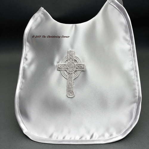 Irish Celtic Cross Boys Baptism Bib