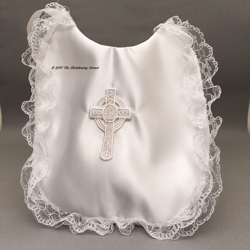 Irish Celtic Cross Girls Baptism Bib