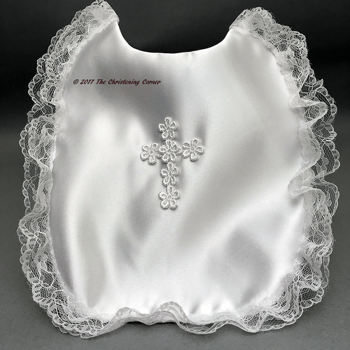 Satin Venice Cross Christening Bib