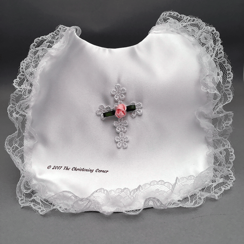 Satin Baptism Bib with Venise Cross and Pink Rose