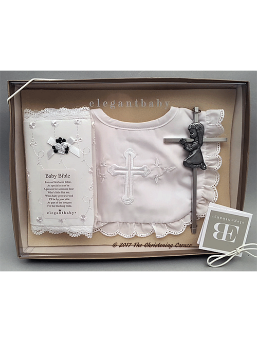 Girl's First Bible, Bib and Cross Gift Set