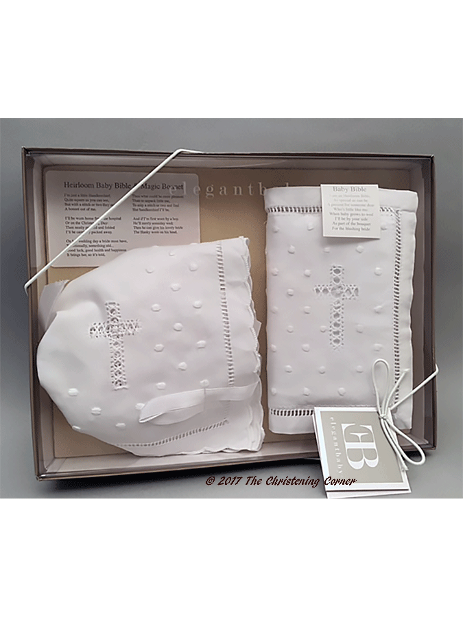 Babys First Bible & Bonnet Gift Set